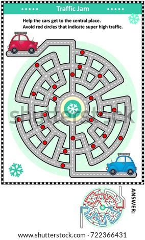 Winter Traffic Jam Road Maze Game Stock Vector 722366431