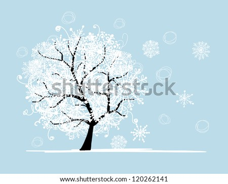 Winter tree for your design. Christmas holiday. - stock vector