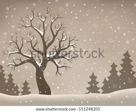 Winter tree topic image 2 - eps10 vector illustration.