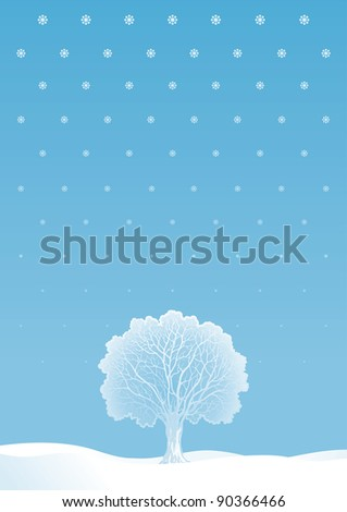 Winter tree. Vector  winter landscape with alone tree and snowflakes. - stock vector