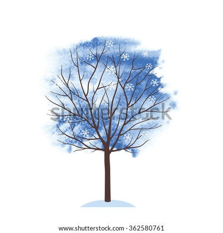 Winter tree. Winter time. Tree on the blue watercolor background. Sketch, design elements. Vector illustration