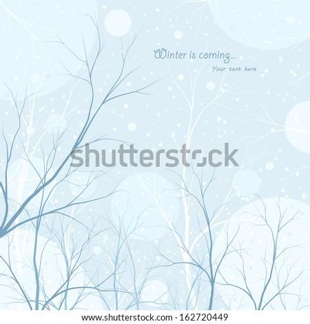 winter trees background - stock vector