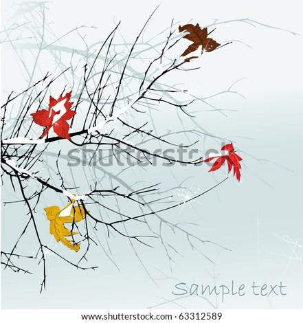 Winter trees brunch, vector illustration - stock vector