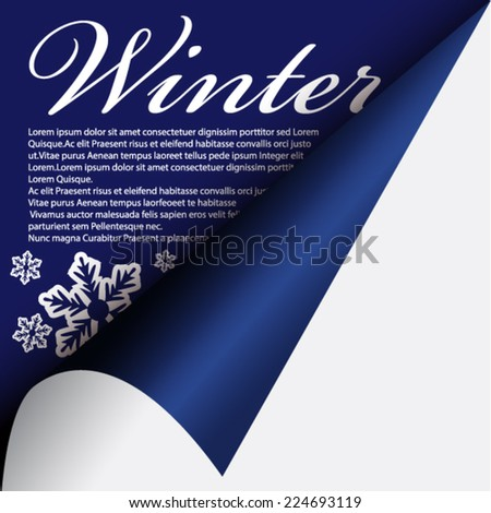Winter under curled corner - stock vector