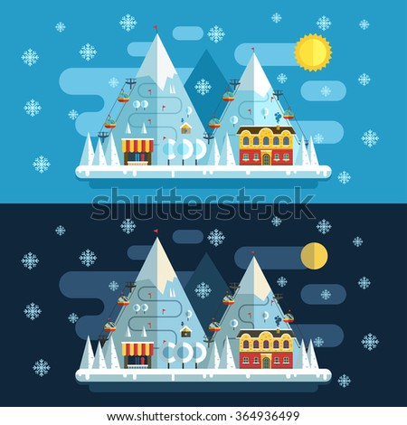 Winter vacation flat landscape. Ski mountain resort  concept at day and night. Winter time evening and morning landscape in flat design with funiculars, mountains, hotel and snow.  - stock vector