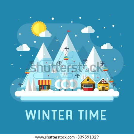 Winter vacation flat landscape. Ski mountain resort concept scene. Winter time landscape in flat design with funiculars, mountains, medicine tent, house and snow. Snow time concept background. - stock vector