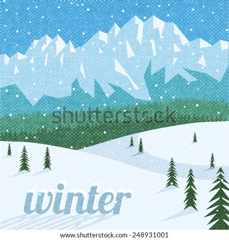 Winter vacation sport tourism and holidays destination  beautiful mountain peaks landscape background advertisement poster abstract vector illustration - stock vector