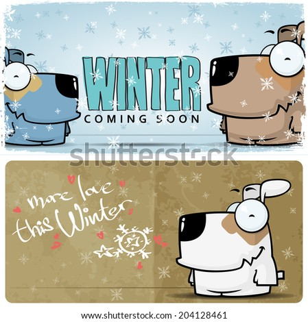 Winter vector card with cartoon doggy character. - stock vector