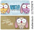 Winter vector card with funny rabbit and text. - stock vector