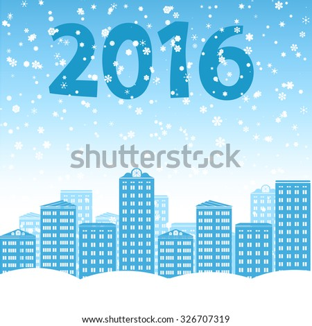 Winter vector city illustration - silhouettes of apartment buildings and a blizzard of snow. - stock vector
