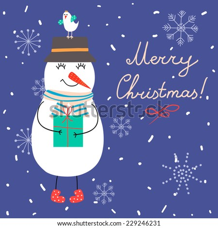 Winter vector illustration with snowman and gifts. Perfect for Christmas cards.  - stock vector