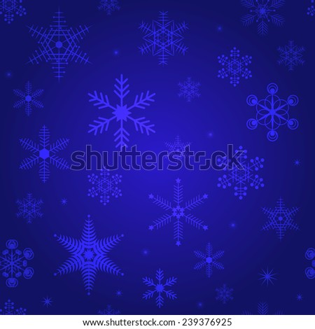 Winter vector seamless background in Blue with snowflakes. Christmas & New Year vector decoration design for wallpaper, wrapping paper, doily, pattern fills. Geometric Backdrop. Snowflakes set. - stock vector