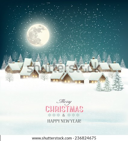 Winter village night background. Vector. - stock vector