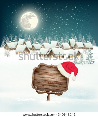 Winter village night background with wooden sign. Vector. - stock vector