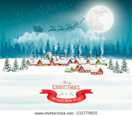 Winter village night Christmas background. Vector.