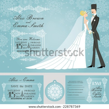 Winter wedding design template set.Retro bride and groom on Falling snowflake background.Wedding invitation.save date,RSVP card,tag. Vector - stock vector