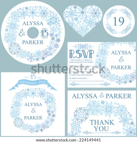 Winter wedding  set with Snowflakes wreath.Openwork elements,text,numbers,ribbon, border.Vector design template CD or DVD,cover,RSVP,Thank card,Number,tag.Vector design template - stock vector