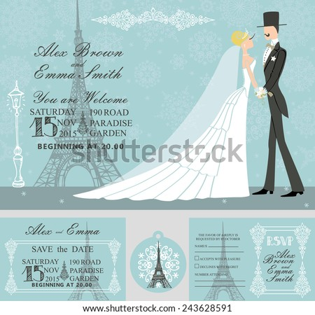 Winter wedding  template set.Retro bride ,groom on snowflake background.Winter wedding invitation set.Bride,groom,snowflake,Eiffel tower,Paris street.Wedding invitation,save date,RSVP card,tag. Vector - stock vector