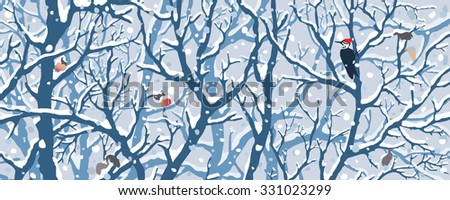 Winter Wonderland - First Snow. Hand drawn vector illustration of first snow covering trees, woodpecker, apples.  - stock vector