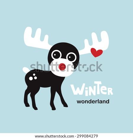 Winter wonderland moose cute little reindeer Christmas greeting card illustration template design in vector - stock vector