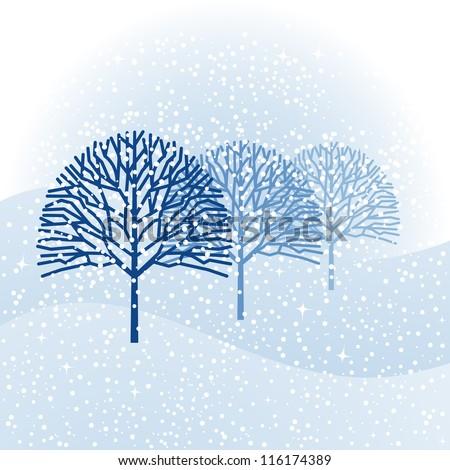 Winter wonderland trees and snow - stock vector