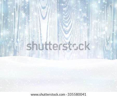 Winter wooden background with snowflakes. Vector illustration. - stock vector