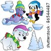 Wintertime animals collection 2 - vector illustration. - stock vector