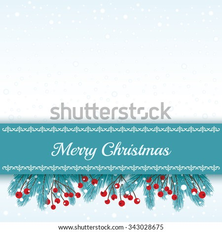 Wintry Card with Fir Twigs - stock vector