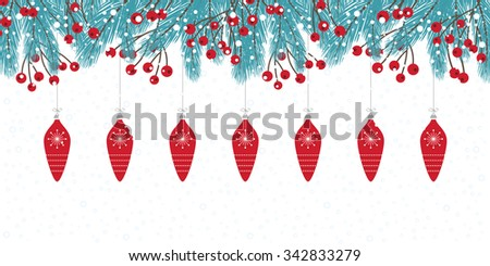 Wintry Christmas Card with Fir Twigs - stock vector