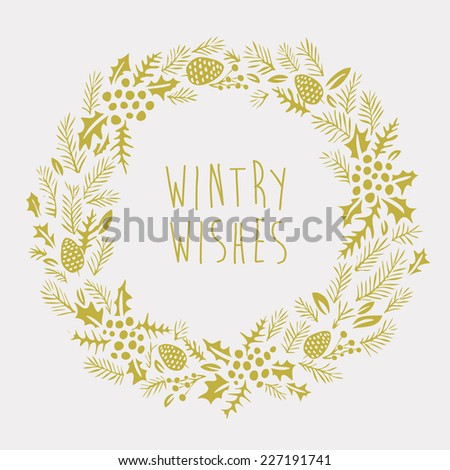 Wintry Wishes Greeting Card - stock vector