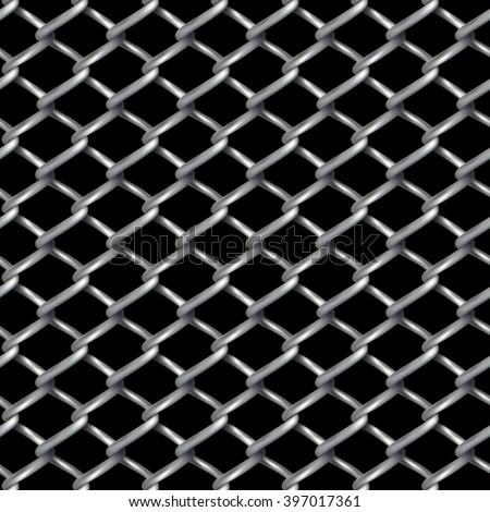 Wire chain-link fence vector texture with black background. - stock vector
