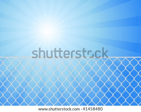 Wire fence and blue sky. Vector illustration. - stock vector