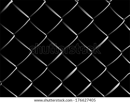 Wire fence vector illustration in night. Electric black wire danger. - stock vector