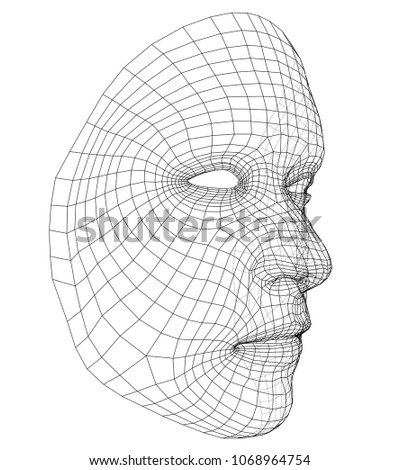 Wireframe Abstract Human Face Concept 3 D Stock Vector 1068964754 ...