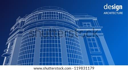 Wire frame architectural facade - stock vector