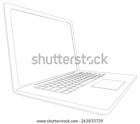 Wire-frame open laptop. Perspective view. Vector illustration rendering of 3d - stock vector