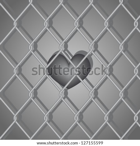 wire mesh fence wire heart - stock vector