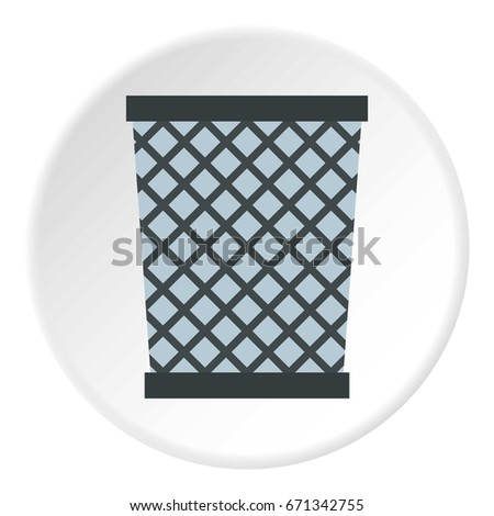 Wire metal bin icon in flat circle isolated vector illustration for web