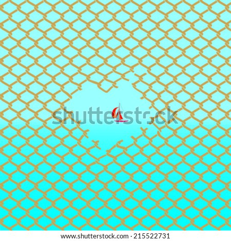 wire on the background of the sea with sailboat - stock vector