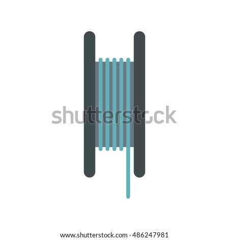 Wire Spool Icon Flat Style On Stock Vector 486247981 - Shutterstock