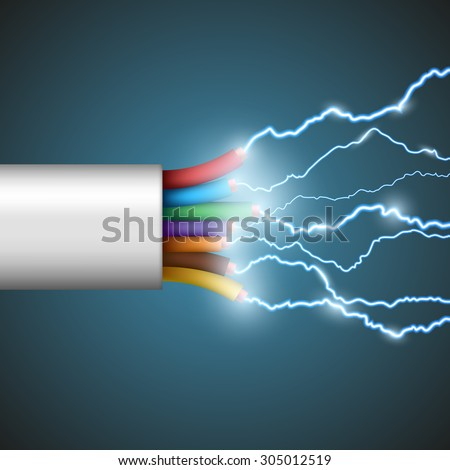 Wire with electrical discharge. Stock vector image. - stock vector