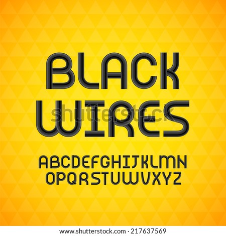 Wired wavy cable, black contour alphabet isolated on yellow triangle texture background, vector illustration - stock vector