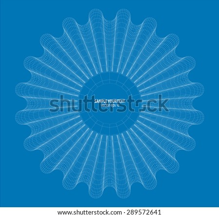 Wireframe Abstract form Vector Background. - stock vector