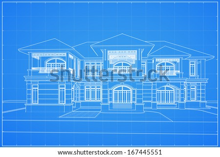 Wireframe blueprint drawing of classical house - Vector illustration - stock vector