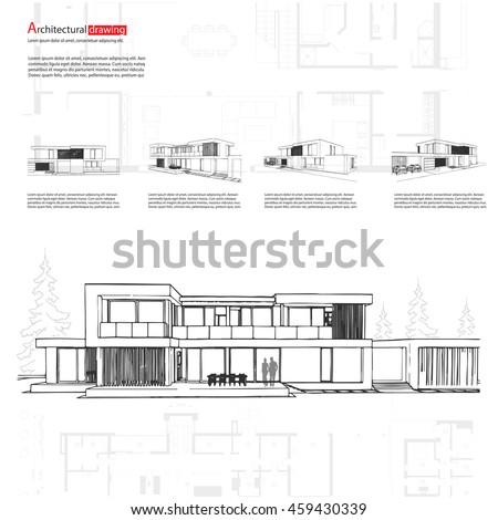 House elevation stock images royalty free images vectors wireframe blueprint drawing of 3d building house vector architectural template background malvernweather Image collections