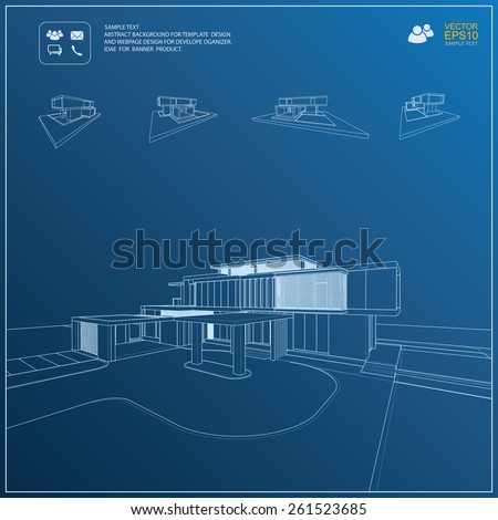 Wireframe blueprint drawing of 3D building. Vector architectural template background. - stock vector