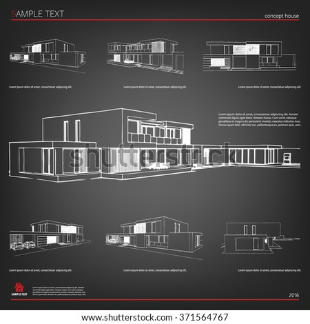 Wireframe blueprint drawing 3 d building vector stock vector 2018 wireframe blueprint drawing of 3d building vector architectural template background malvernweather Image collections