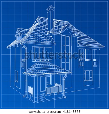 Architectural blueprint house stock illustration 565248790 wireframe blueprint drawing of 3d building vector architectural template background malvernweather Image collections