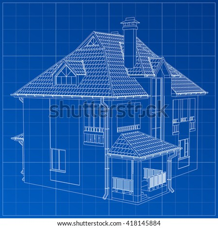Wireframe Blueprint Drawing Of 3D Building Vector Architectural Template Background