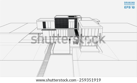 Wireframe blueprint drawing of 3D building. Vector illustration.